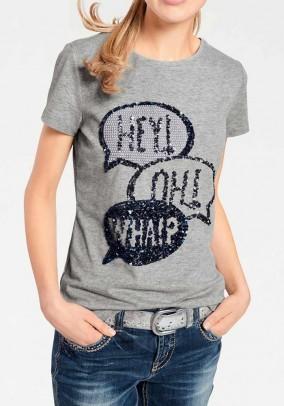 Pilki dekoruoti marškinėliai