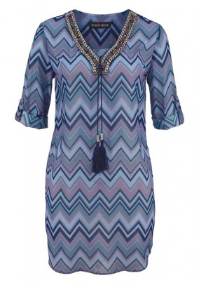 Print tunic with beads, multicolour