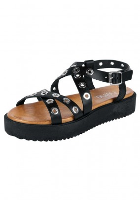 Leather sandal with eyes, black