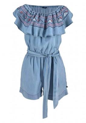 Short jumpsuit, light blue