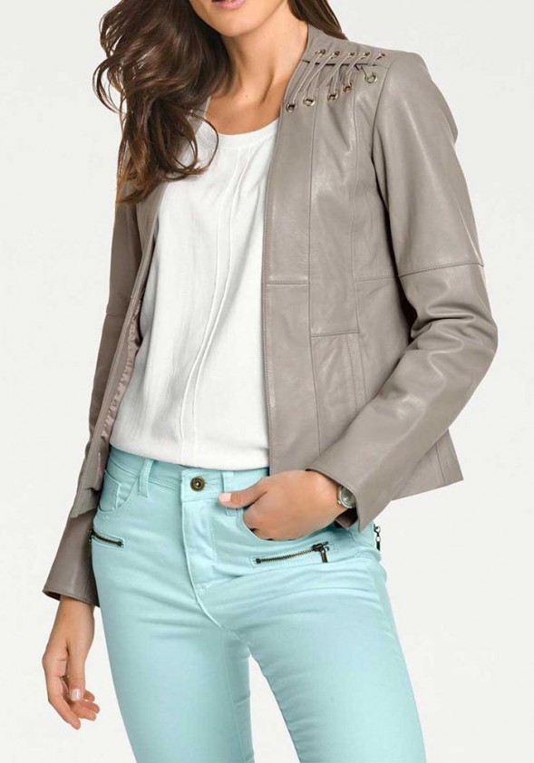 Lamb nappa leather jacket, light taupe