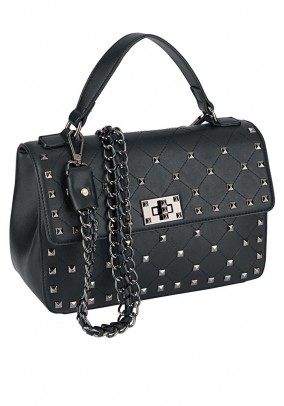 Purse with rivets, black