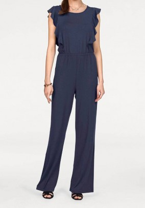 Jumpsuit with flounces, navy