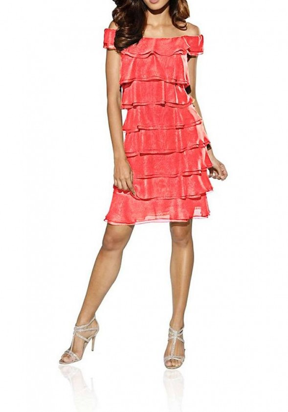 Koralinė sluoksniuota suknelė
