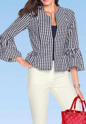 Vichy check blazer, white-blue
