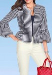 Vichy check blazer, white-blue