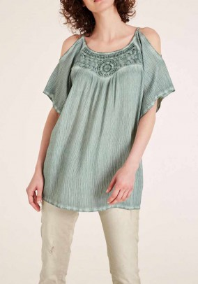Blouse top with lace, used green