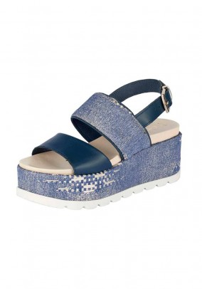 Wedge heel, blue-denim