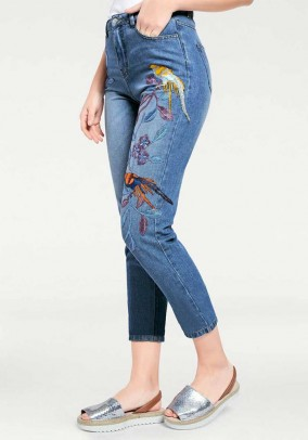 Slim fit jeans with embroidery, blue