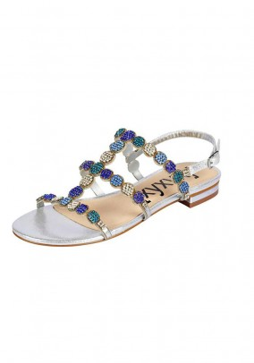 Sandal with strass, silver coloured