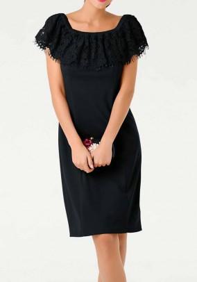Carmen neckline dress with lace, black