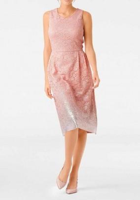 """Rausva nėriniuota suknelė """"Ombre"""""""