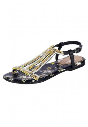 Sandal with beads, black-multicolour