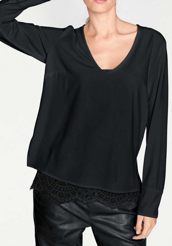 Two in one blouse, black