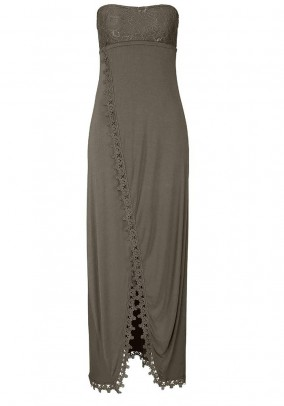 Bandeau maxi dress with lace, taupe
