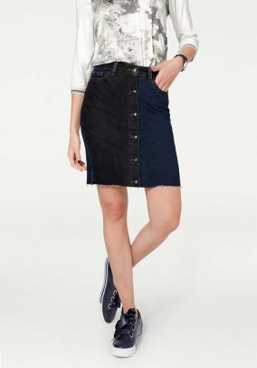 Denim skirt, dark blue - black