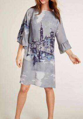 Print dress with flounces, grey-multicolour