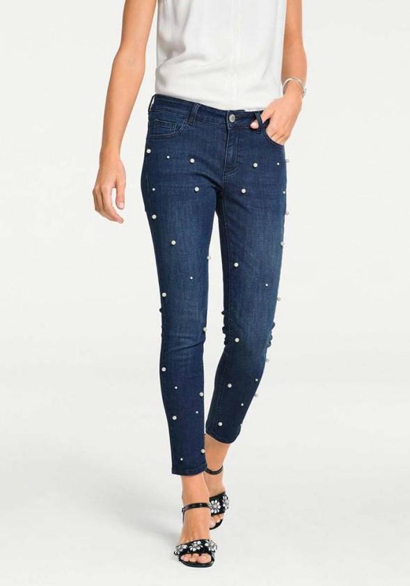Mėlyni džinsai su perlais