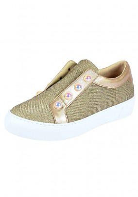 Sneaker with beads, golden colour