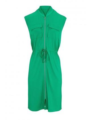 Žalia suknelė su užtrauktuku