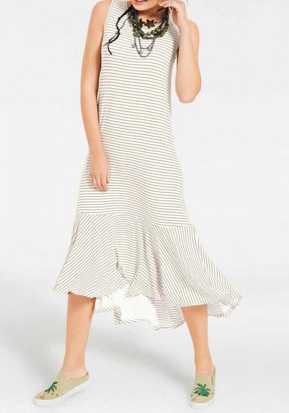 Midi ilgio šviesi dryžuota suknelė. Liko 38 dydis