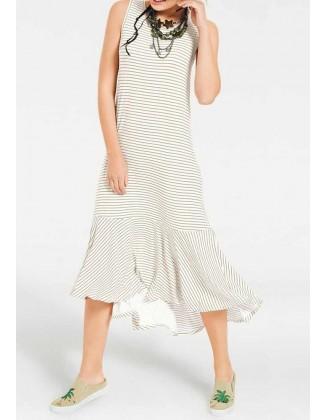 Midi ilgio šviesi dryžuota suknelė