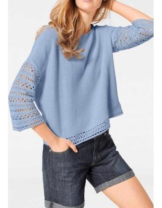 Melsvas trumpas megztinis