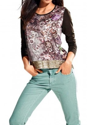 Satin shirt with sequines, brown-multicolour
