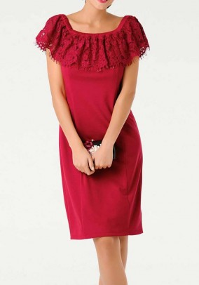 Dress with lace, red