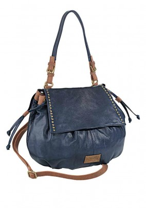 Leather bag, navy-brown
