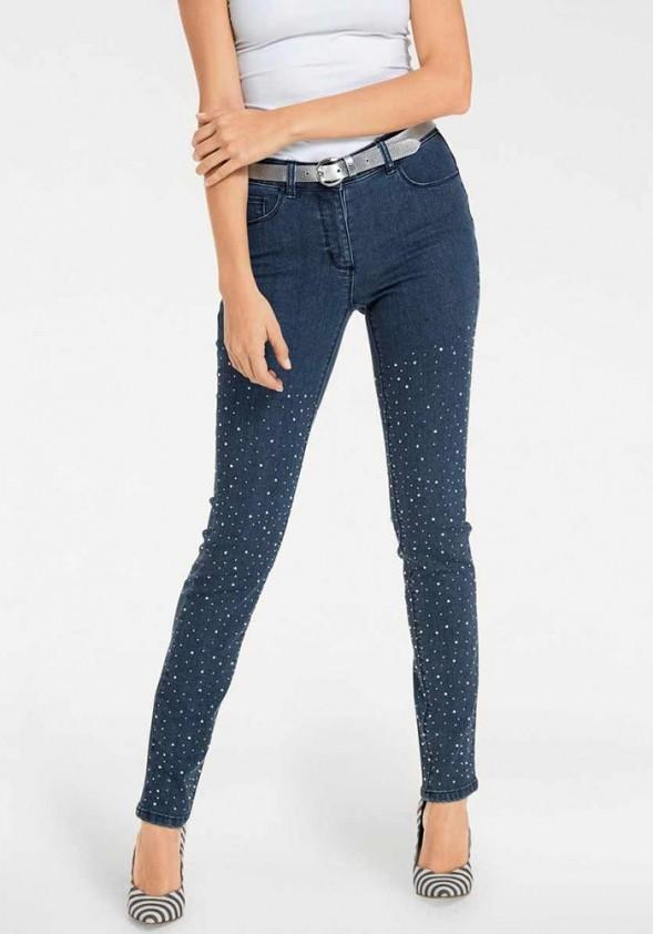 Mėlyni dekoruoti džinsai