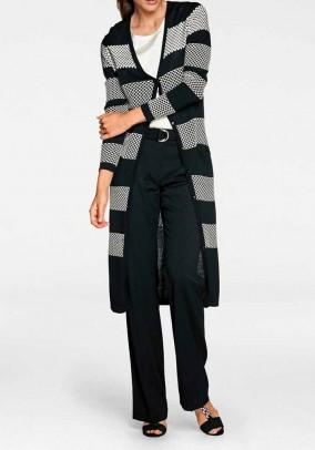 Long cardigan, black-ecru