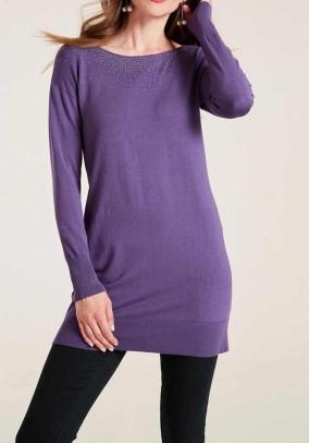Long shirt with rivets, purple