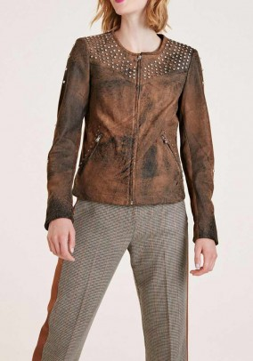 Leather jacket with rivets, brown