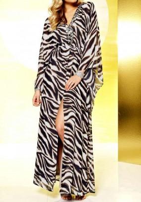 Chiffon tunik-dress with sequines, animal print