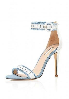 Sandal, white - light blue