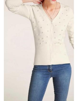 Vilnonis perlais puoštas megztinis