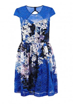 Brand lace dress, blue-colored