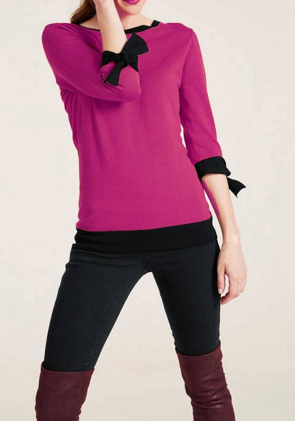 Knit sweater, pink-black