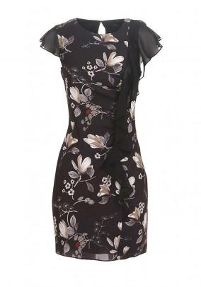 Chiffon dress with flounces, black