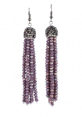 Ear rings with beads, purple