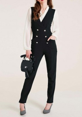 Jumpsuit with buttons, black
