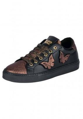 Leather sneaker, black-bronze