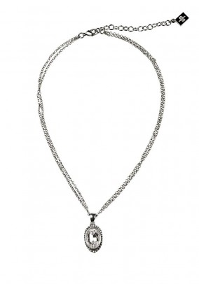 Necklace with pendant, silver coloured