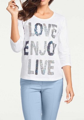 Shirt with sequins, white