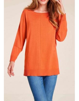 Laisvas oranžinis megztinis