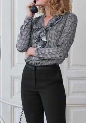 Print blouse with flounces, black-white