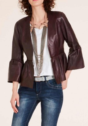 Nappa leather jacket with flounces, bordeaux