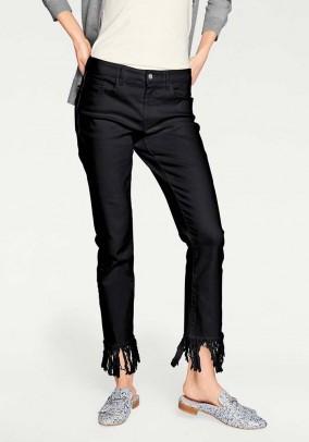 Skinny jeans with fringes, black