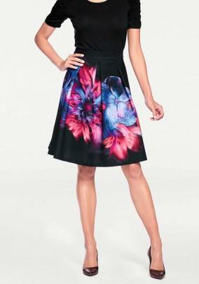 Print skirt, black-pink